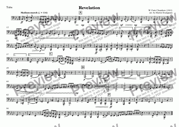 page one of the Tuba part from Revelation