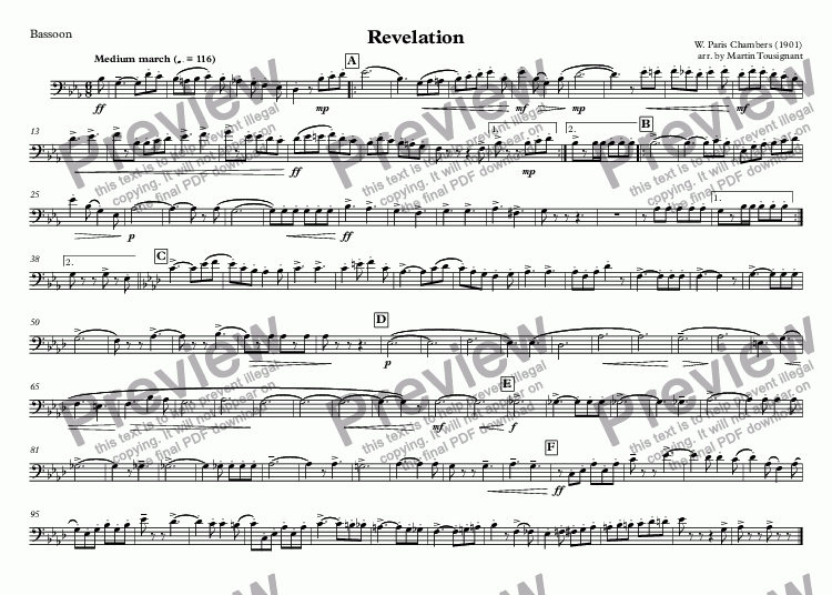 page one of the Bassoon part from Revelation