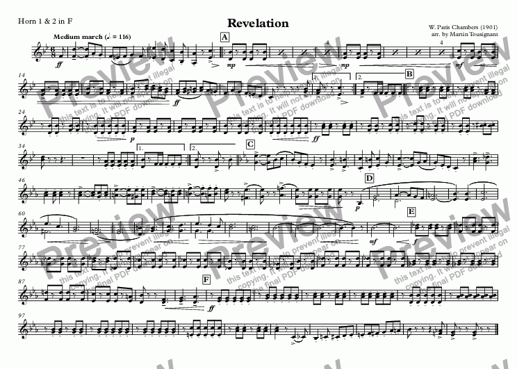 page one of the Horn 1 & 2 in F part from Revelation