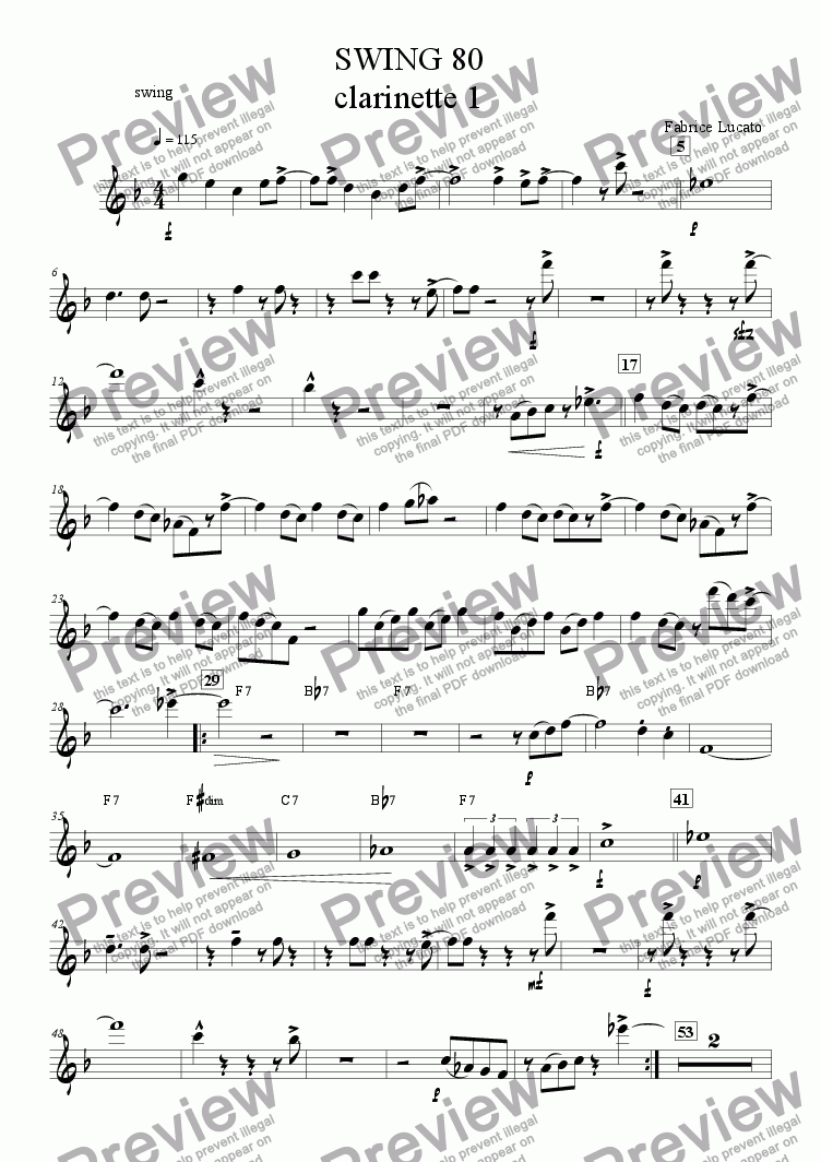 page one of the swing 80 clarinette 1 part from swing 80 ensemble de clarinettes