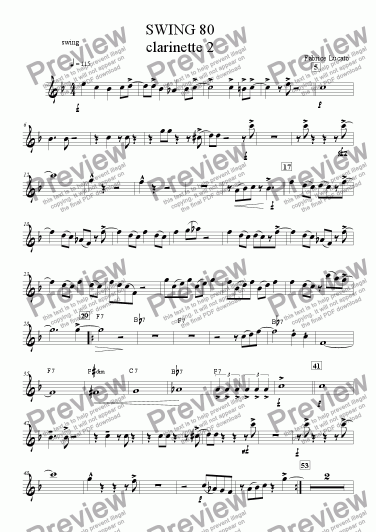 page one of the swing 80 clarinette 2 part from swing 80 ensemble de clarinettes