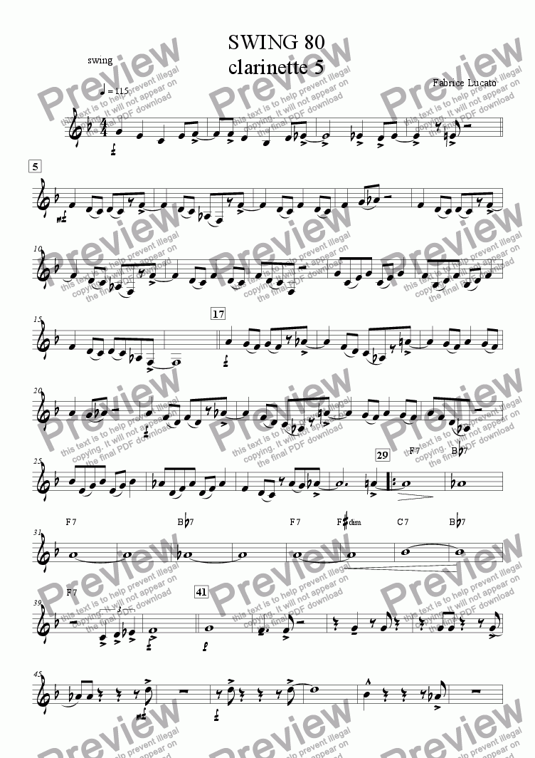 page one of the swing 80 clarinette 5 part from swing 80 ensemble de clarinettes