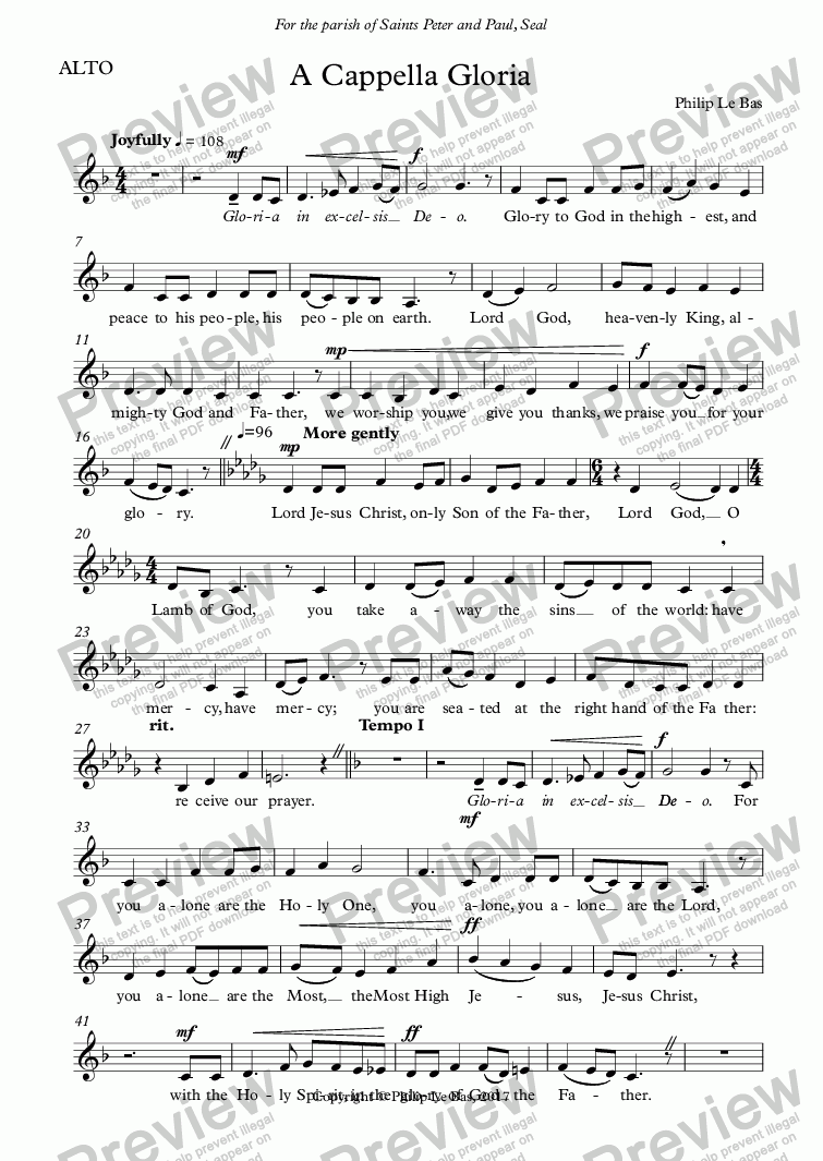 page one of the ALTO part from A Cappella Gloria