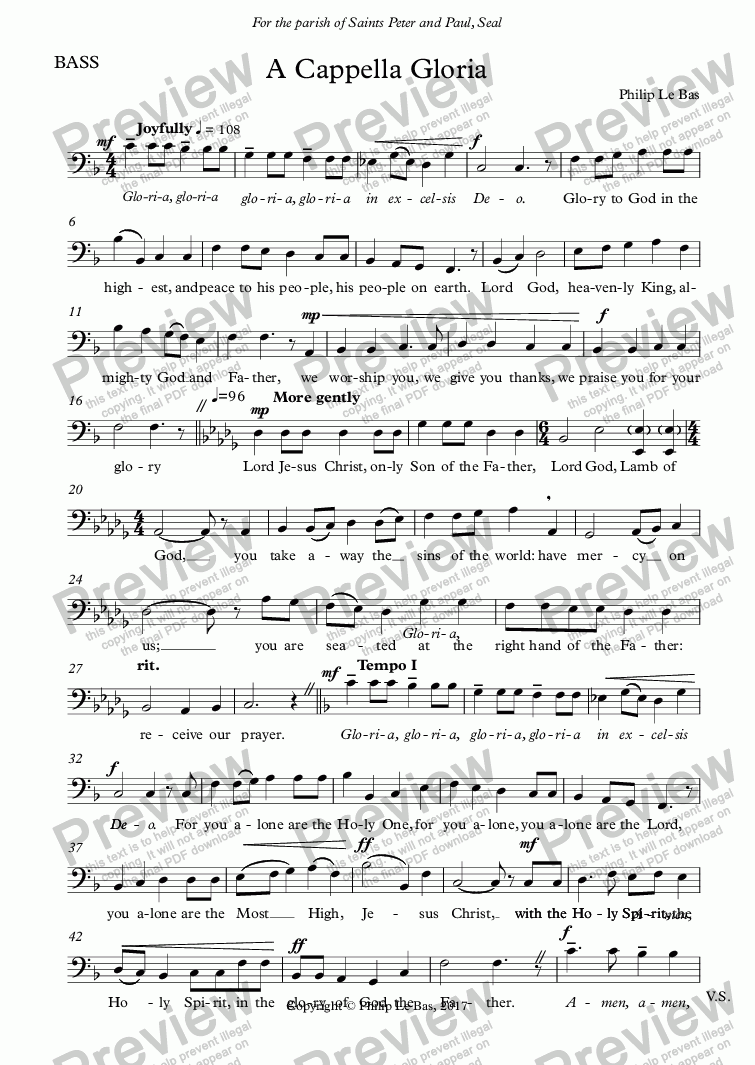 page one of the BASS part from A Cappella Gloria