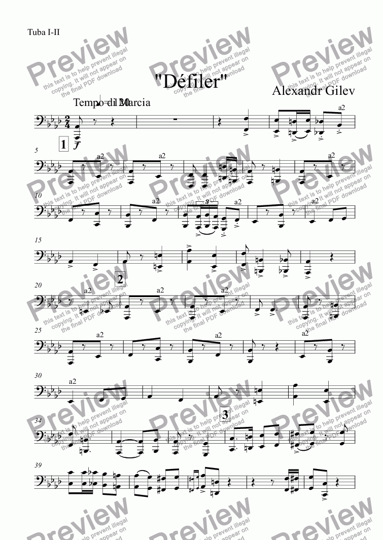 "page one of the Tuba I-II part from ""Défiler"""