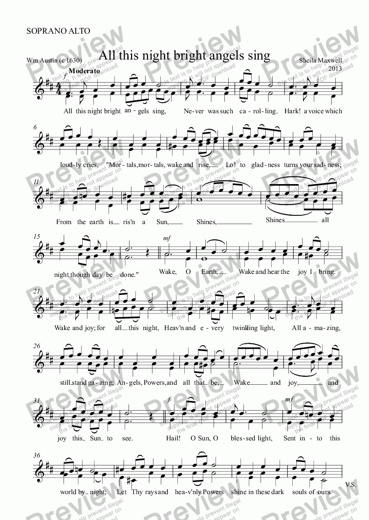 page one of the SOPRANO ALTO part from All this night bright angels sing