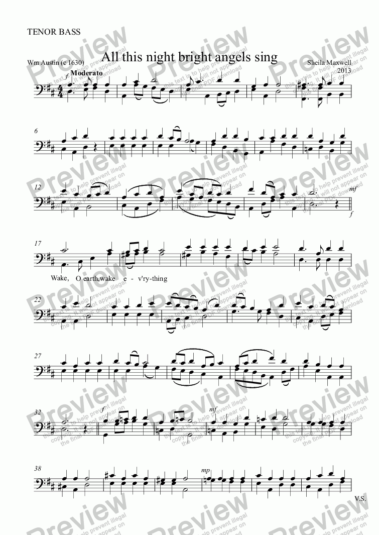 page one of the TENOR BASS part from All this night bright angels sing