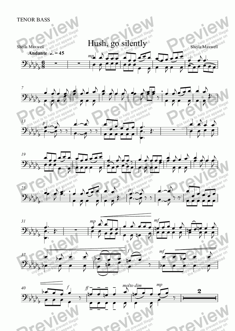 page one of the TENOR BASS part from Hush, go silently