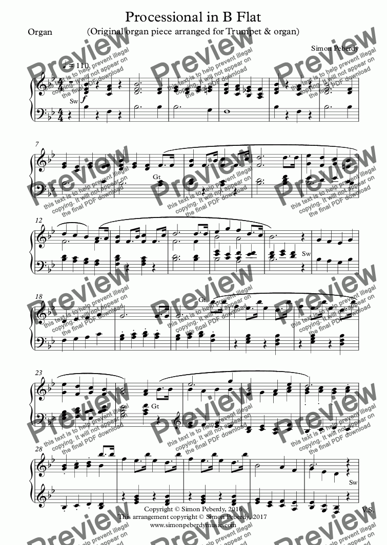 page one of the Organ part from Processional in B Flat for Trumpet & Organ (Arrangement of original organ piece)