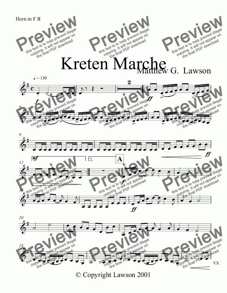 page one of the Horn in F II part from Kreten Marche