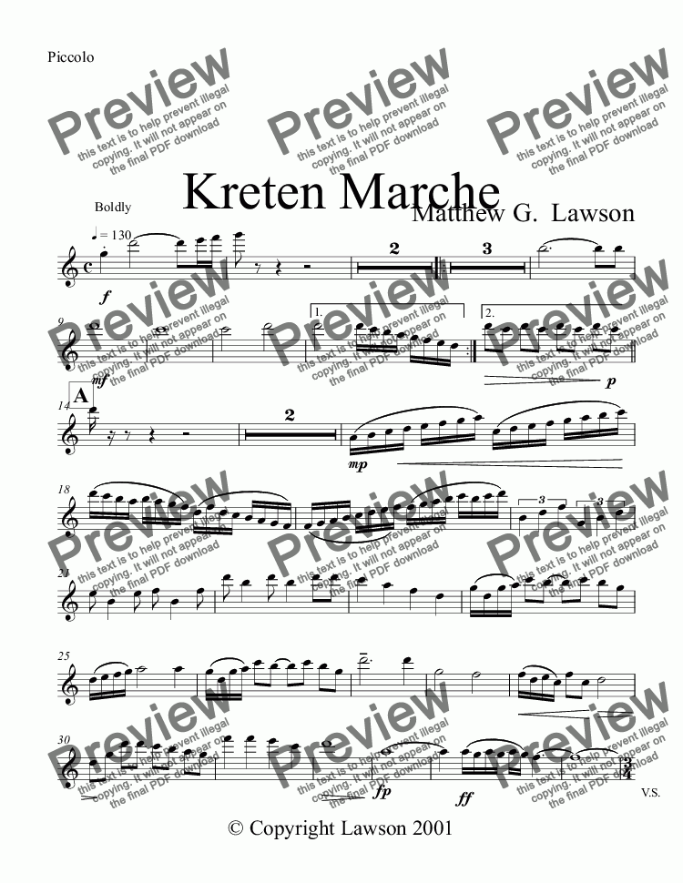 page one of the Piccolo part from Kreten Marche