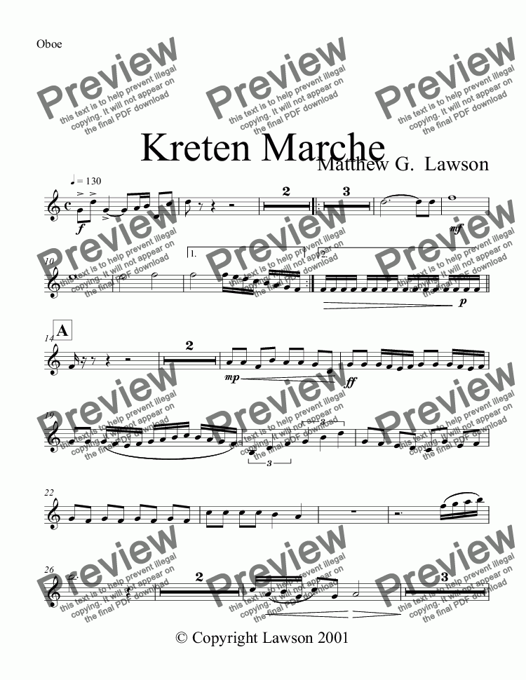 page one of the Oboe part from Kreten Marche