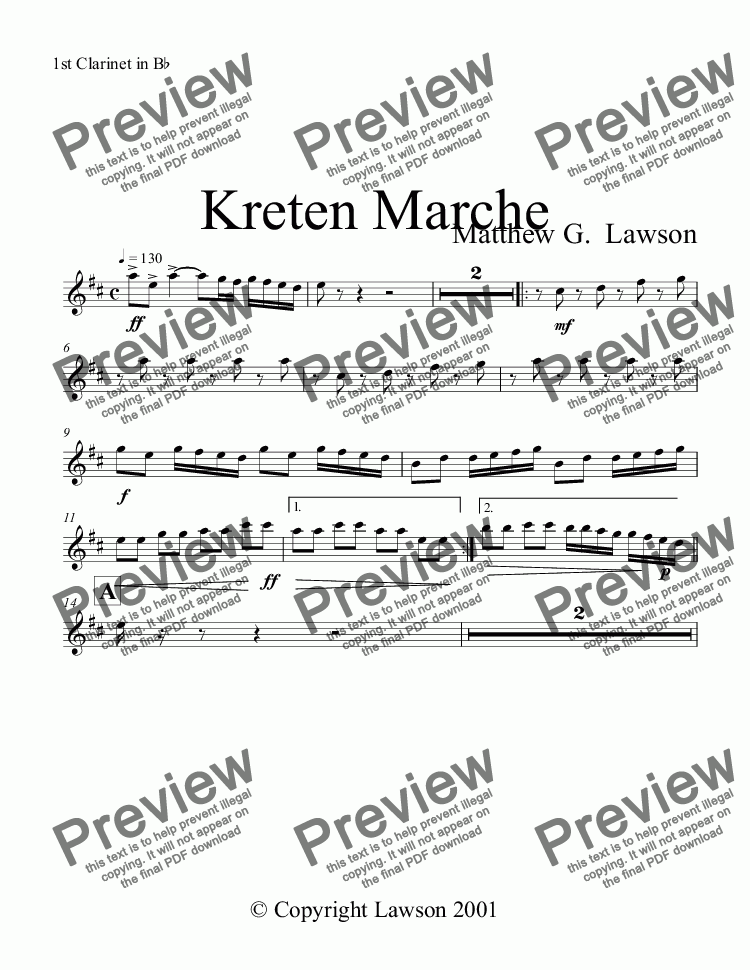 page one of the 1st Clarinet in B^b part from Kreten Marche