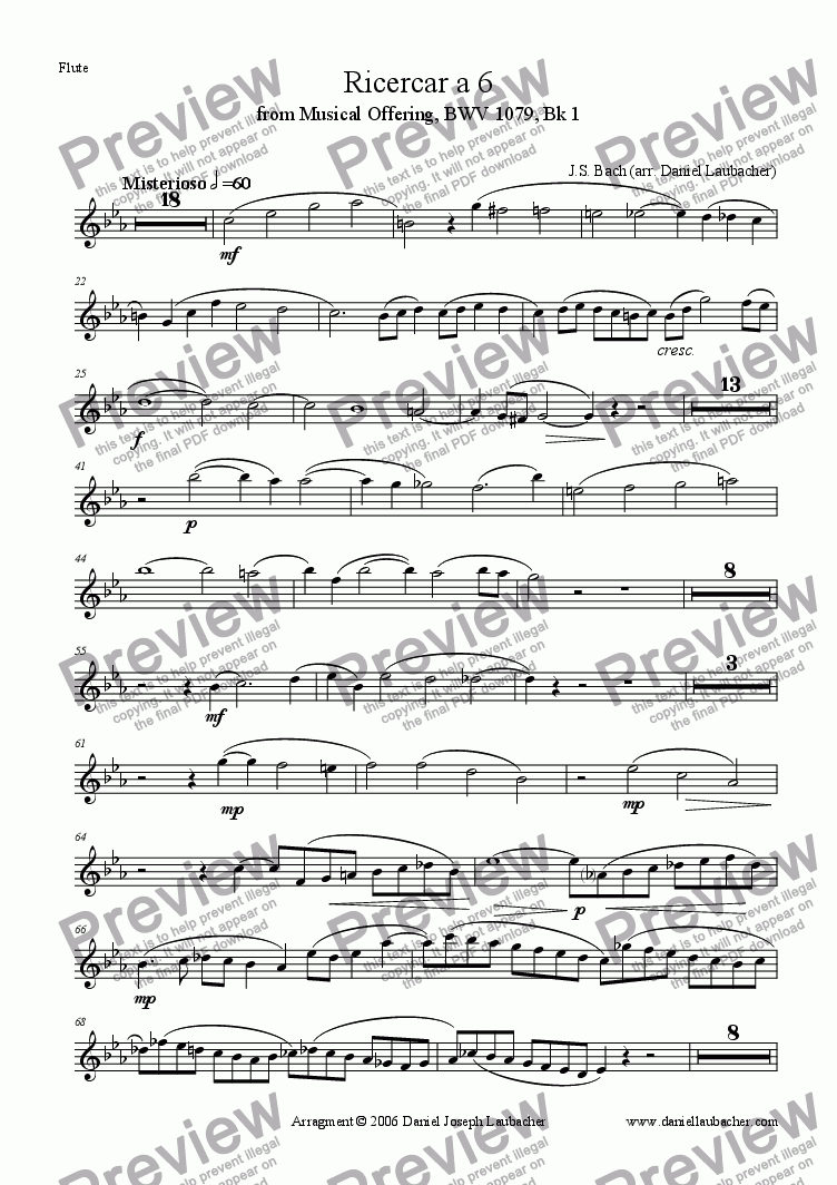 page one of the Flute part from Ricercar a 6 by J.S. Bach (arr. for Orchestra)