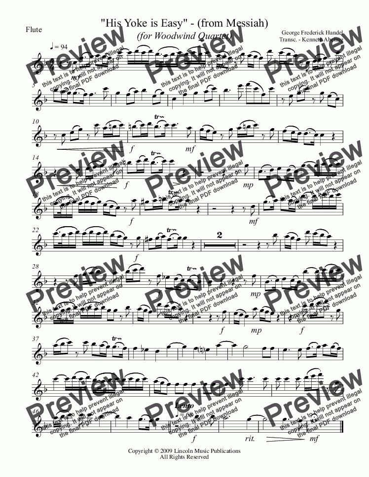 page one of the Flute part from Handel - Messiah - His Yoke is Easy (for Woodwind Quartet)