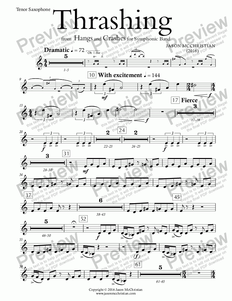 page one of the Thrashing - 14. Tenor Saxophone part from Thrashing - for Symphonic Band - FULL SCORE AND PARTS