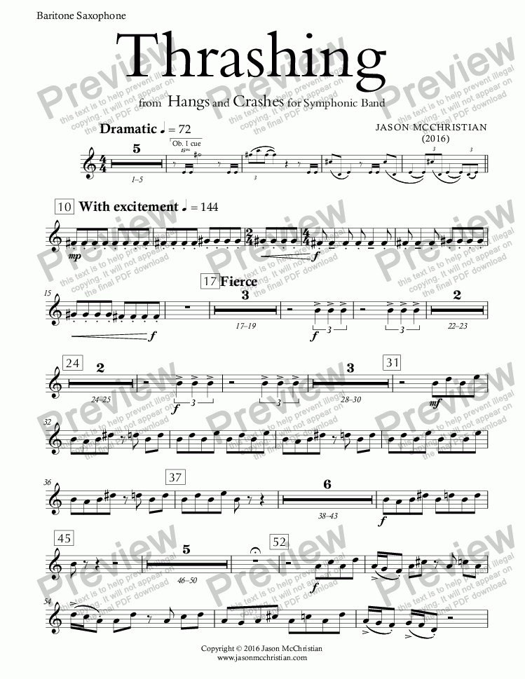 page one of the Thrashing - 15. Baritone Saxophone part from Thrashing - for Symphonic Band - FULL SCORE AND PARTS