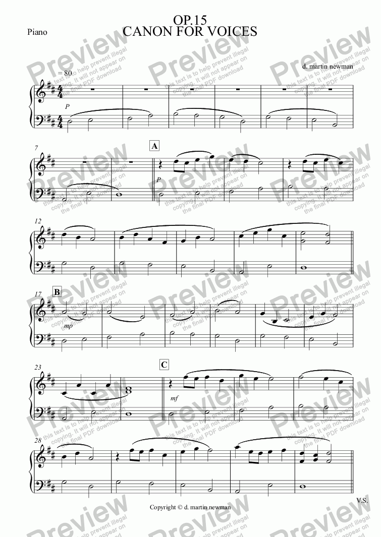 page one of the Piano part from CANON FOR VOICES op.15 Choir + Piano