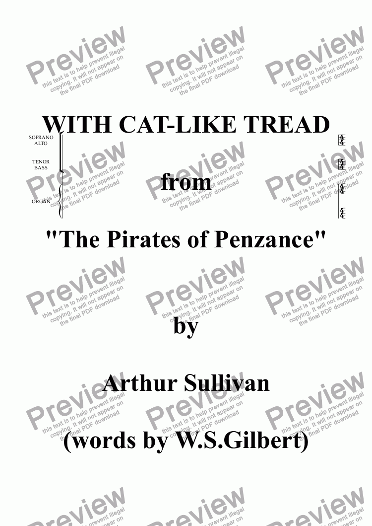 "page one of the SOPRANO ALTO part from With cat-like tread (""The Pirates of Penzance"")"