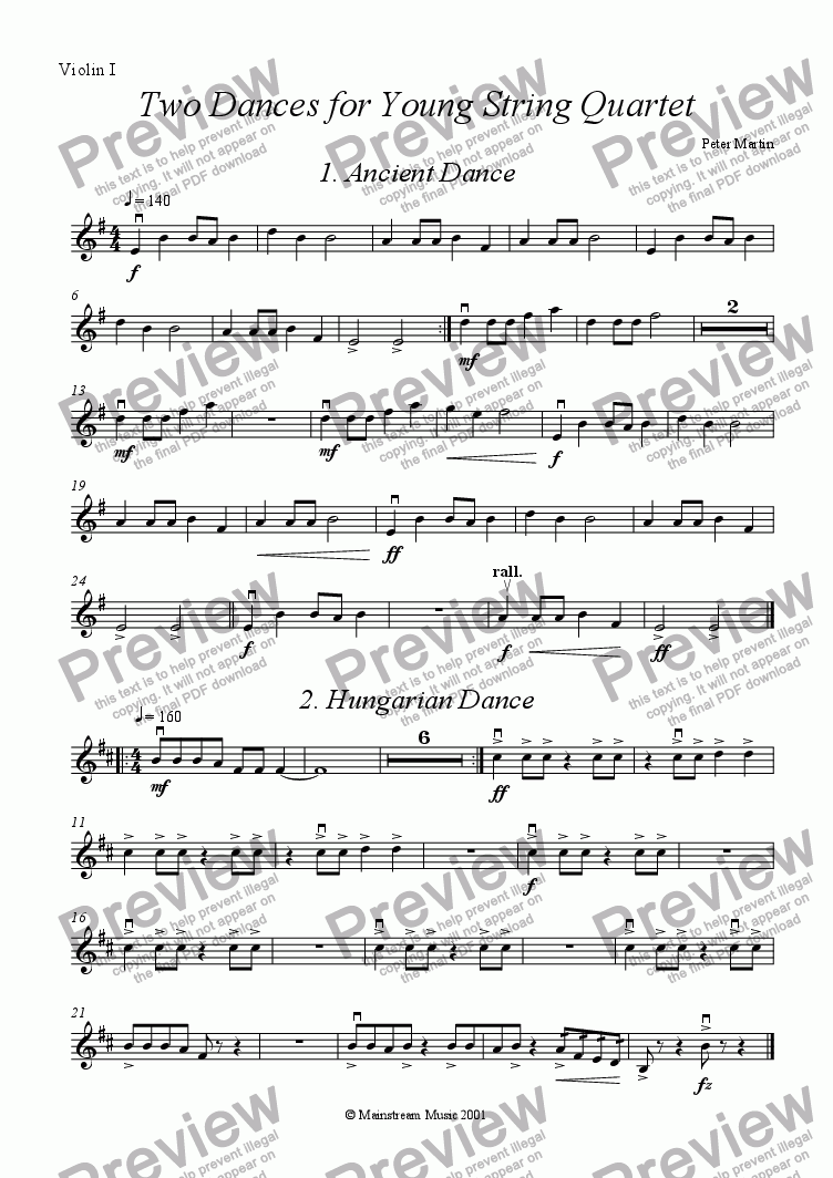 page one of the Violin I part from Two Dances for Young String Quartet