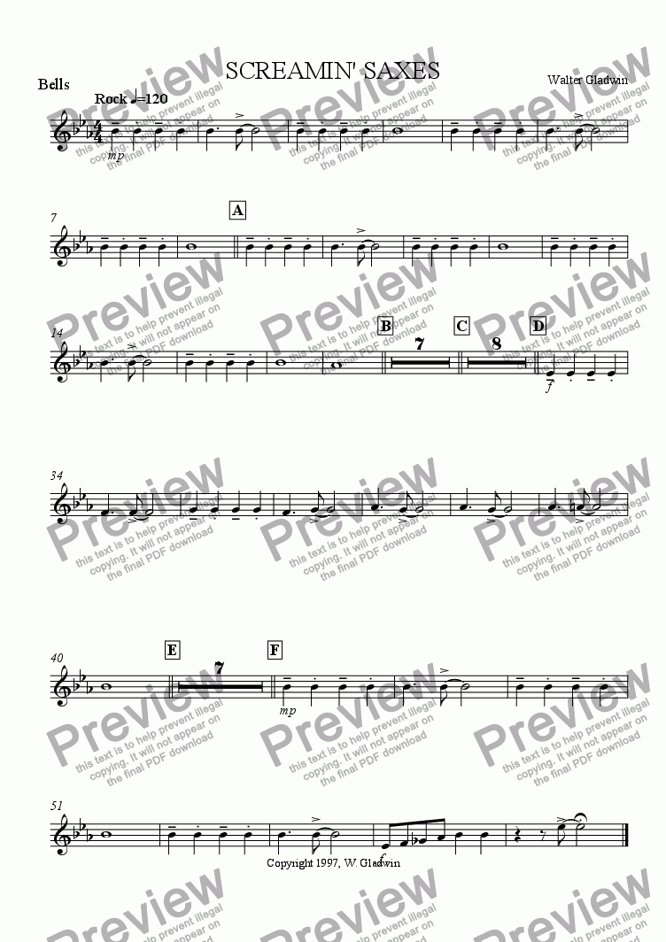 page one of the Bells part from Screamin' Saxes