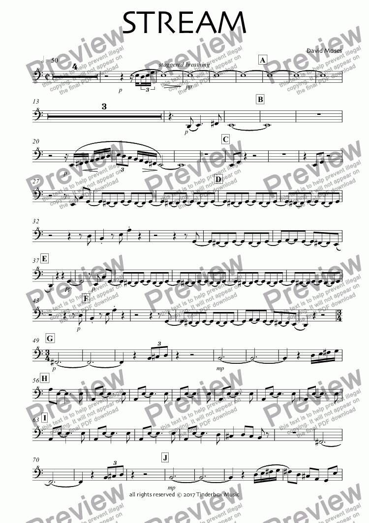 page one of the Great Bass Recorder part from STREAM