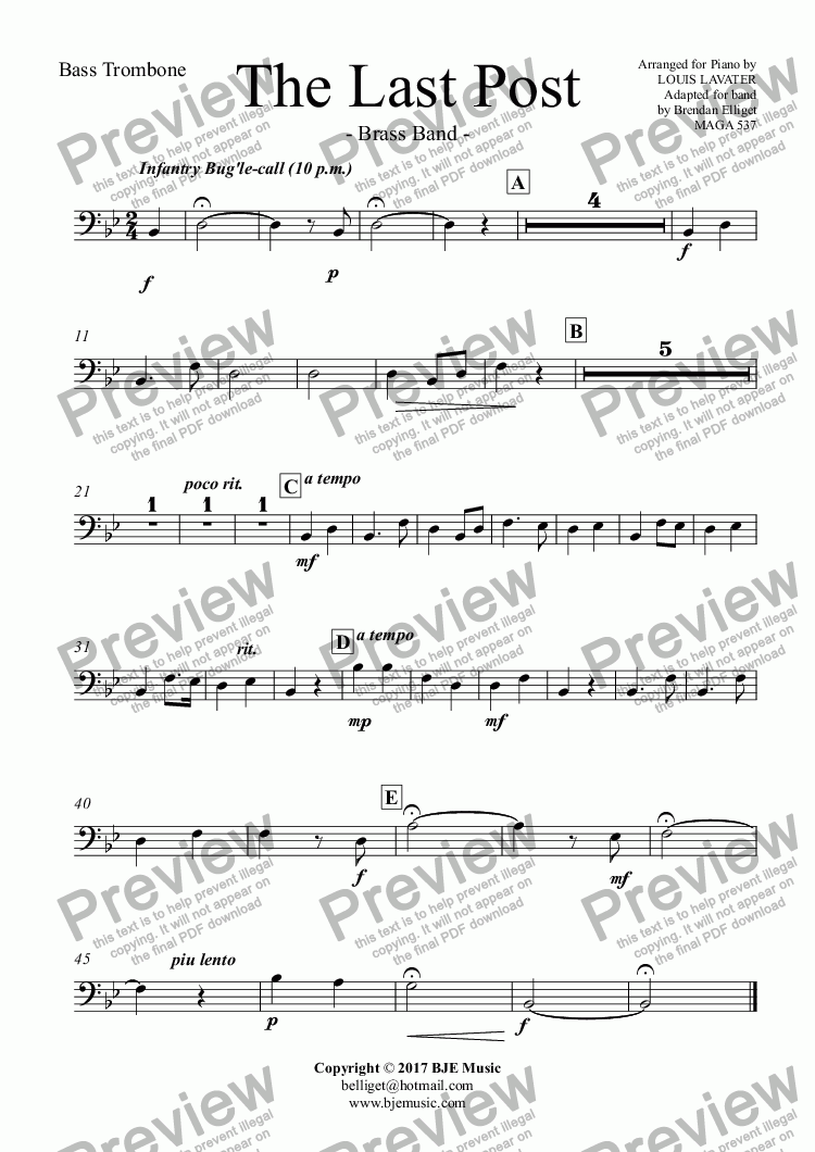 page one of the Bass Trombone part from The Last Post - Brass Band