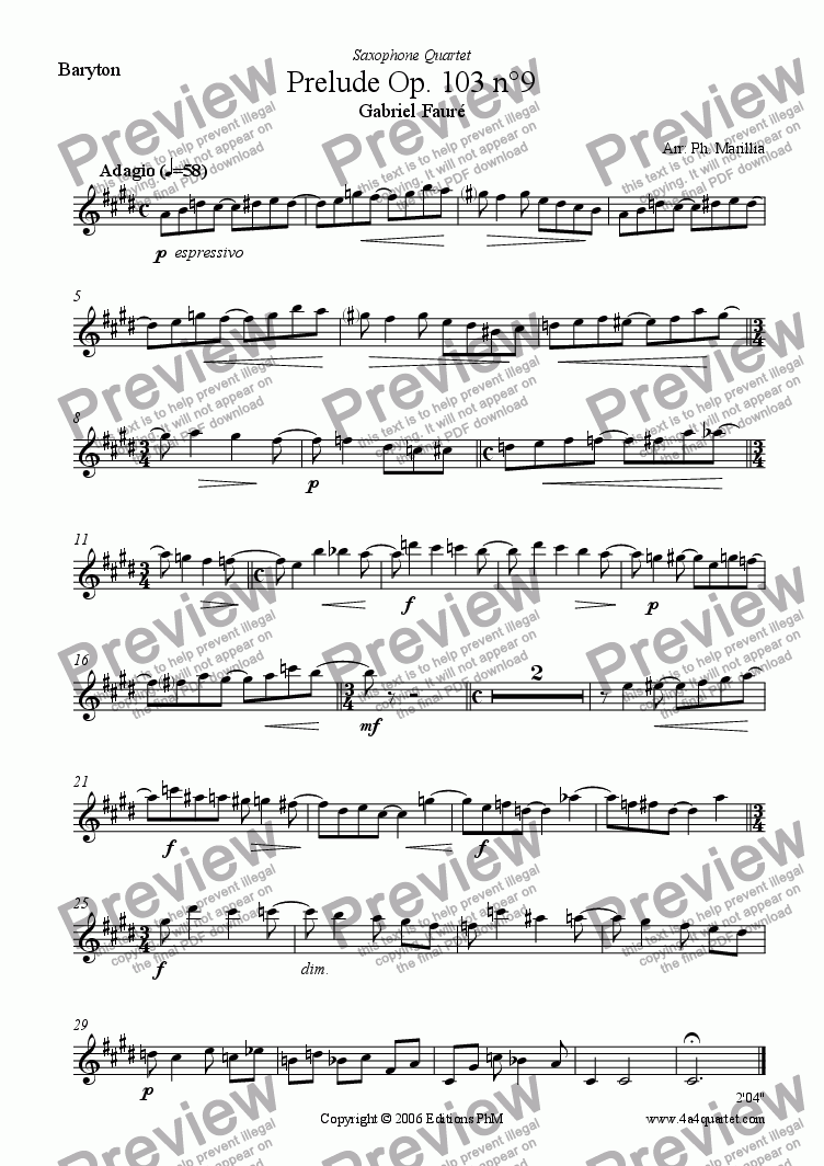 page one of the Baritone Sax part from Faur� - Pr�lude N�9 Op. 103 (Sax Quartet)