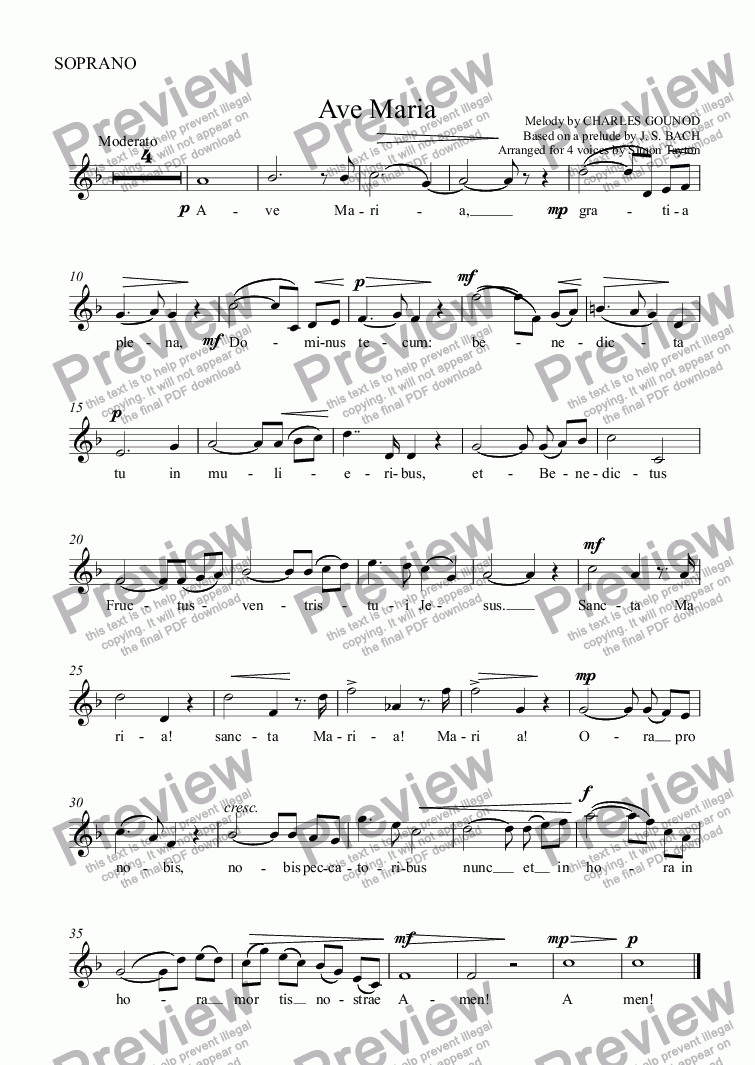 page one of the SOPRANO part from Ave Maria