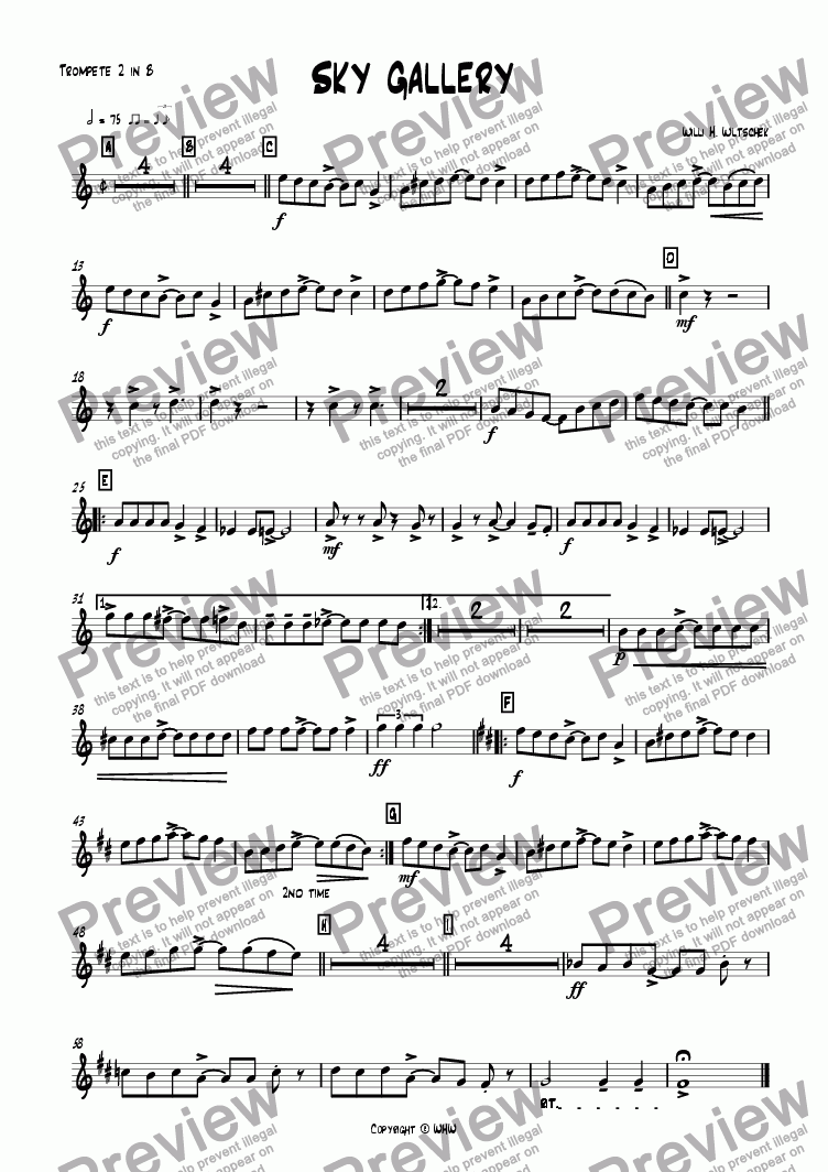 page one of the Trumpet 2 in Bb part from Sky gallery