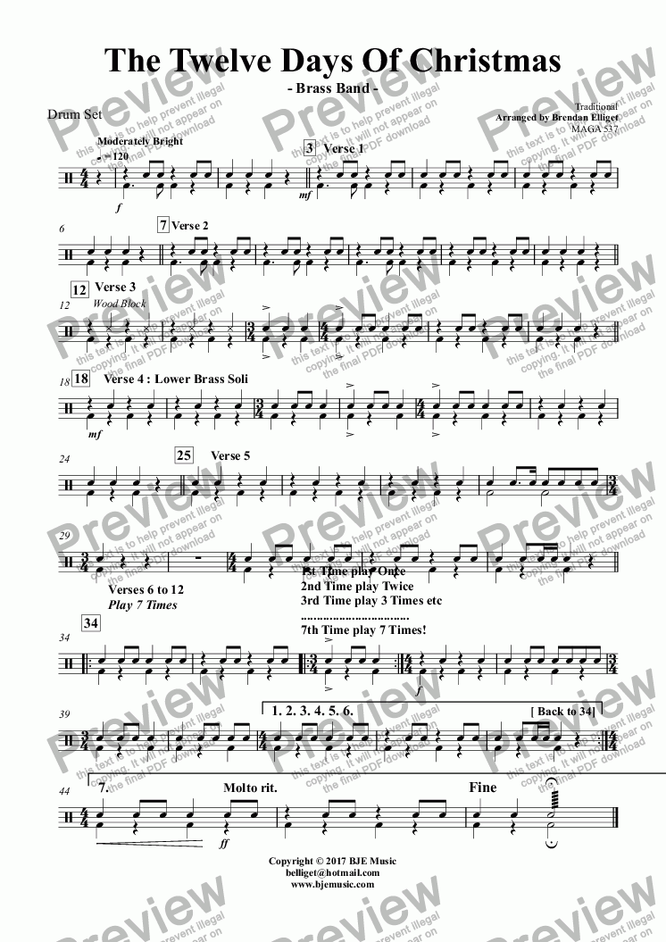 page one of the Drum Set part from The Twelve Days Of Christmas - Brass Band