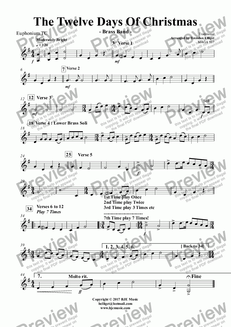 page one of the Euphonium TC part from The Twelve Days Of Christmas - Brass Band