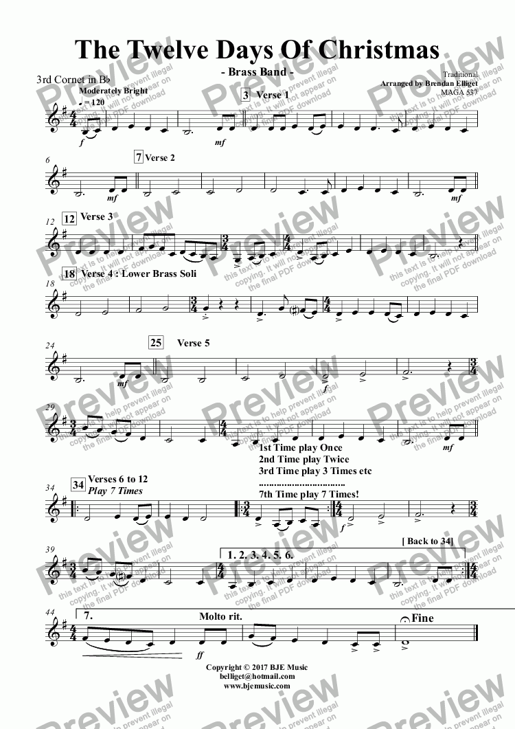 page one of the 3rd Cornet in B^b part from The Twelve Days Of Christmas - Brass Band