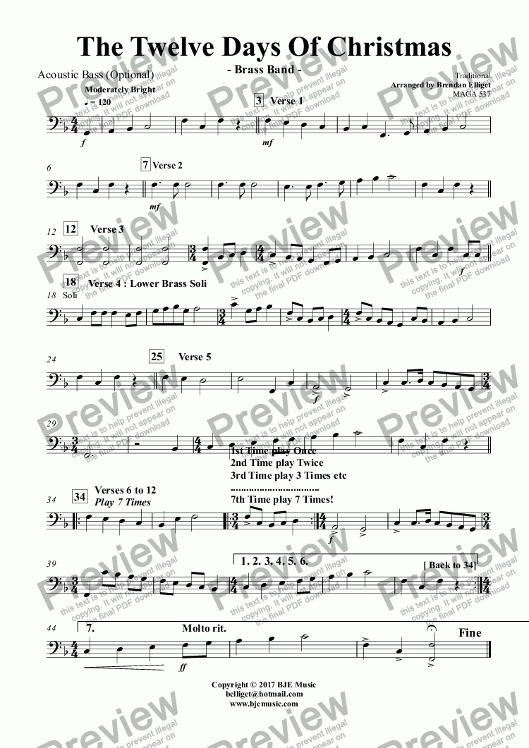 page one of the Acoustic Bass (Optional) part from The Twelve Days Of Christmas - Brass Band