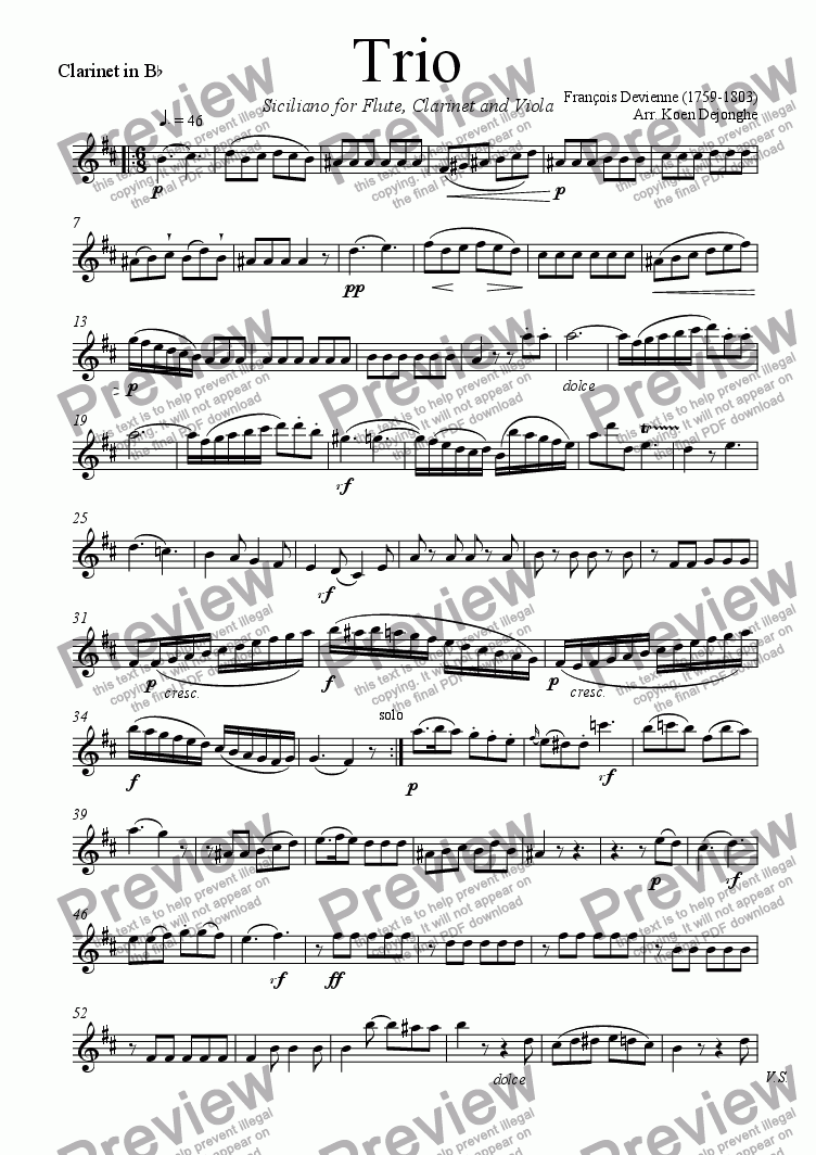 "page one of the Clarinet in Bes part from ""Siciliano for Flute, Clarinet and Viola"" (F. Devienne)"