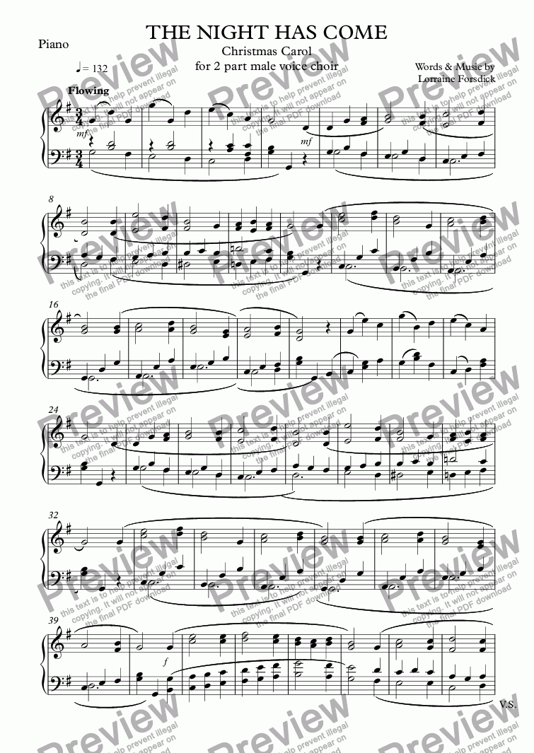 page one of the Piano part from THE NIGHT HAS COME