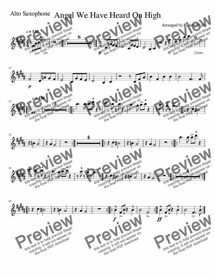 page one of the Angels We Have Heard On High-Alto_Saxophone part from Angels We Have Heard On High