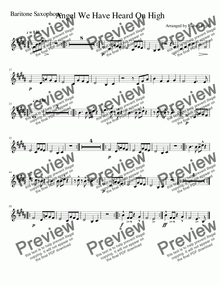 page one of the Angels We Have Heard On High-Baritone_Saxophone part from Angels We Have Heard On High