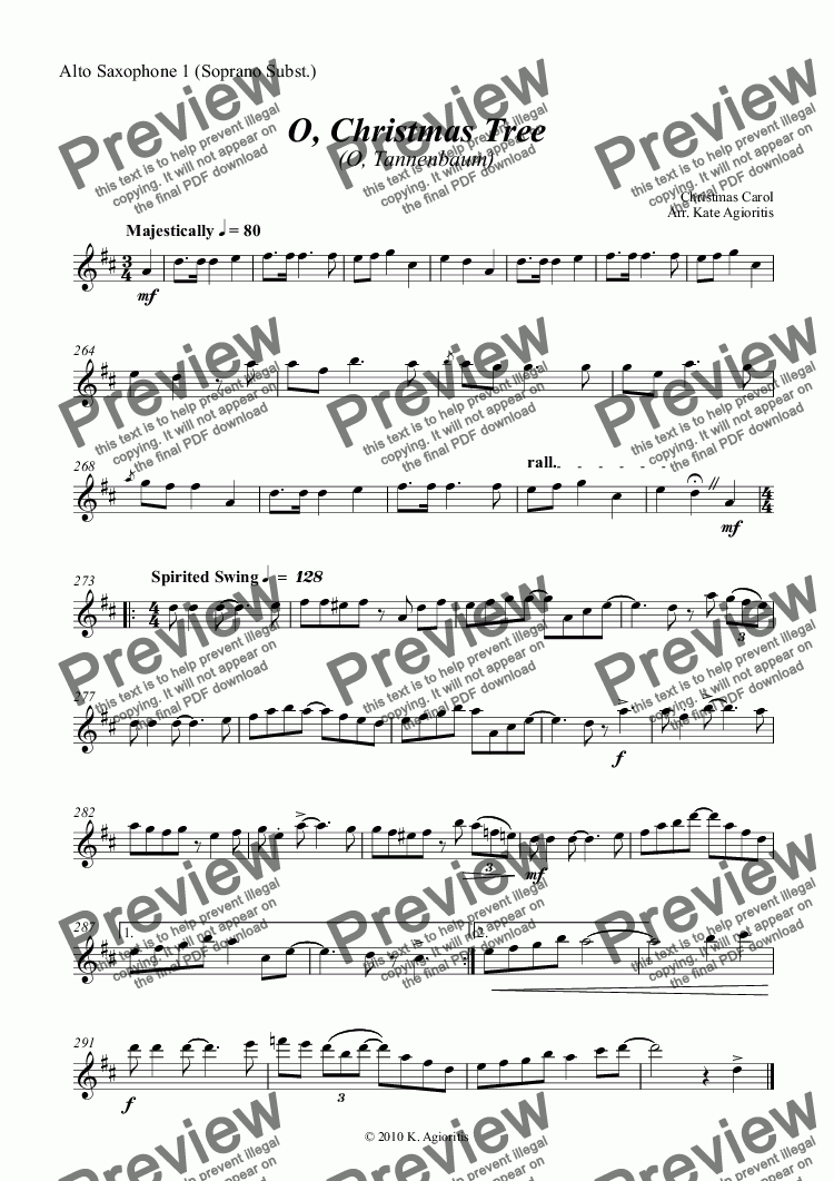 page one of the Alto Saxophone 1 (Soprano Subst.) part from O Christmas Tree (O Tannenbaum) - Jazz Carol for Saxophone Quartet