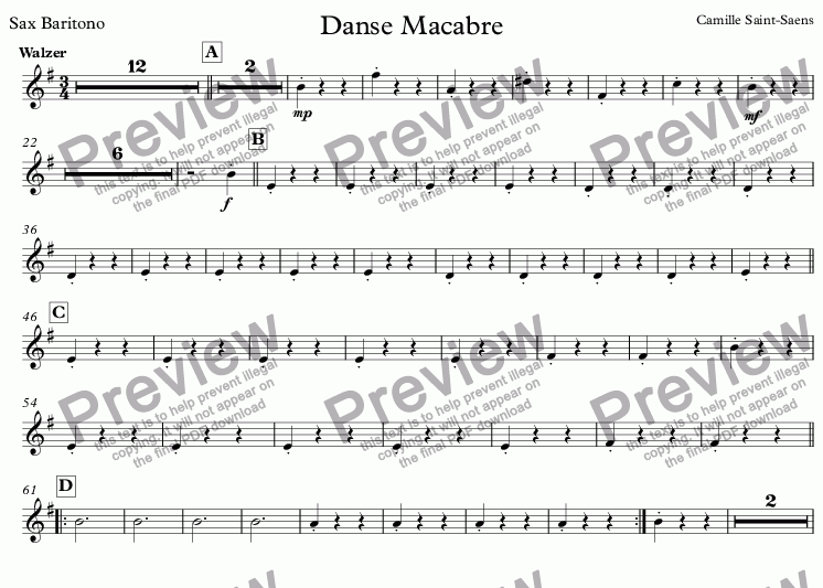page one of the Sax Baritono part from Danse Macabre