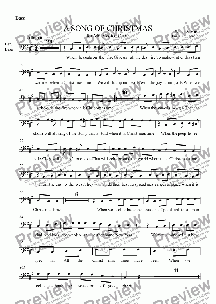page one of the Bass part from A SONG OF CHRISTMAS