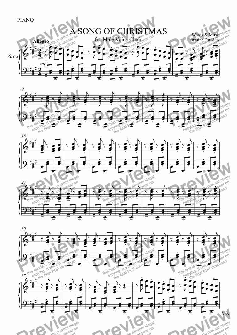 page one of the PIANO part from A SONG OF CHRISTMAS