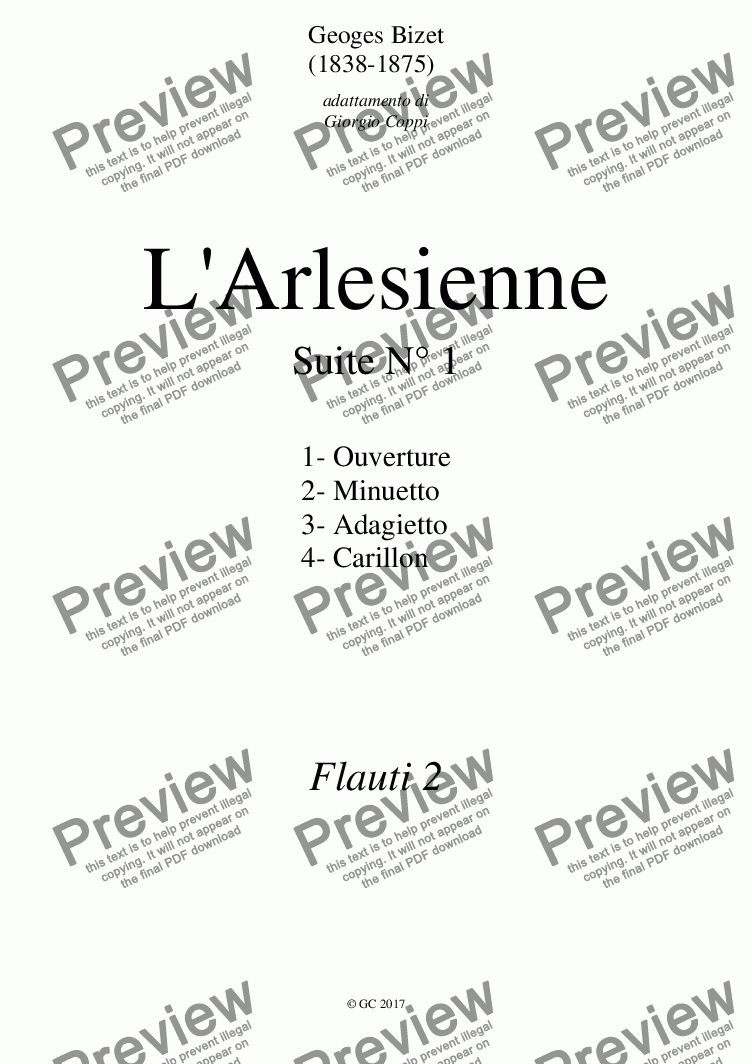 page one of the Flauti 2 part from Arlesienne Suite N° 1-G.Bizet