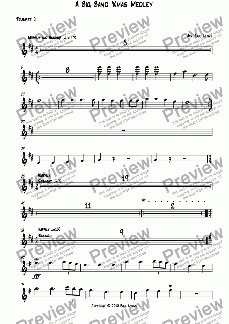 page one of the Trumpet 2 part from Big Band Christmas Medley