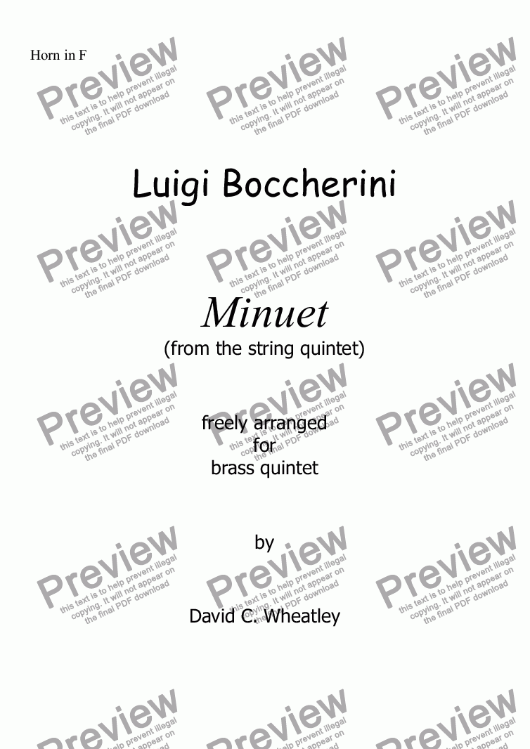 page one of the Horn in F part from Boccherini - Minuet (from the string quintet)  freely arranged for brass quintet