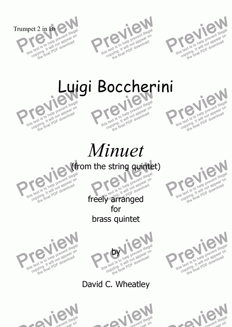 page one of the Trumpet 2 in Bb part from Boccherini - Minuet (from the string quintet)  freely arranged for brass quintet