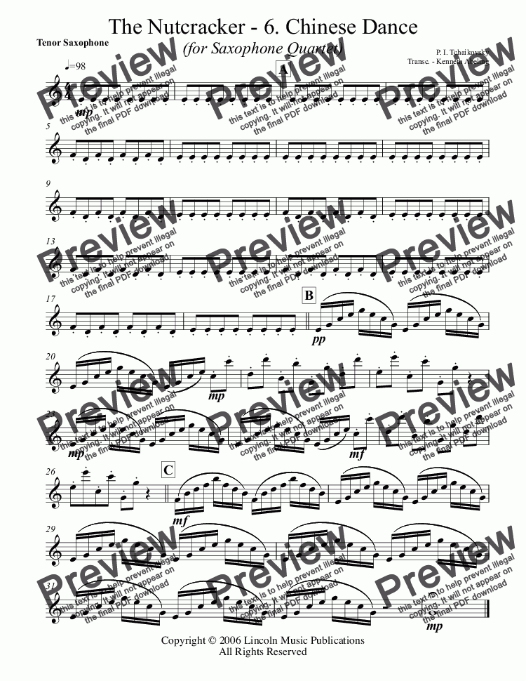 page one of the Tenor Saxophone part from The Nutcracker - 6. Chinese Dance (for Saxophone Quartet SATB)