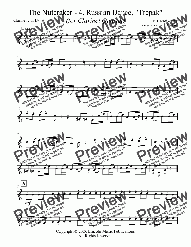 "page one of the Clarinet 2 in Bb part from The Nutcracker - 4. Russian Dance, ""Tr̩pak"" (for Clarinet Quartet)"
