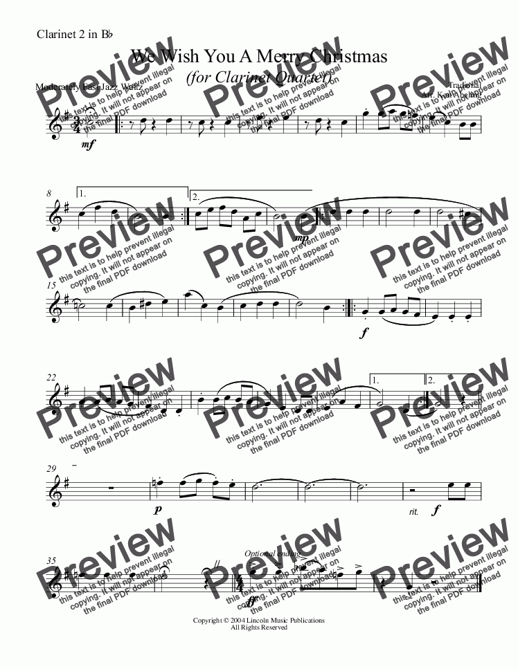 page one of the Clarinet 2 in Bb part from Jazz Christmas Carol - We Wish You A Merry Christmas (Clarinet Quartet)