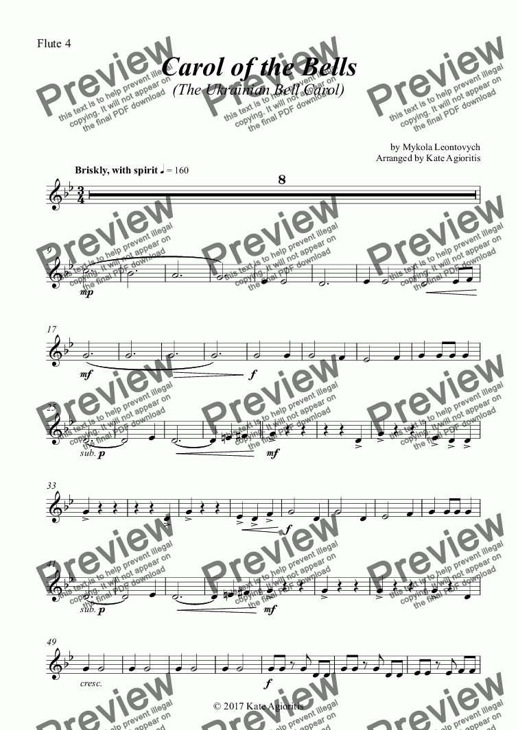 page one of the Flute 4 part from Carol of the Bells (Ukrainian Bell Carol) - Flute Quartet